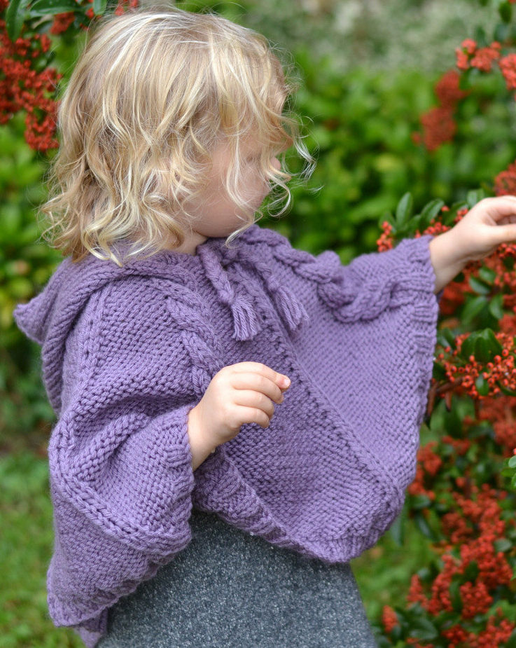 Knitting Pattern for Hooded Cable Poncho for Babies and Children