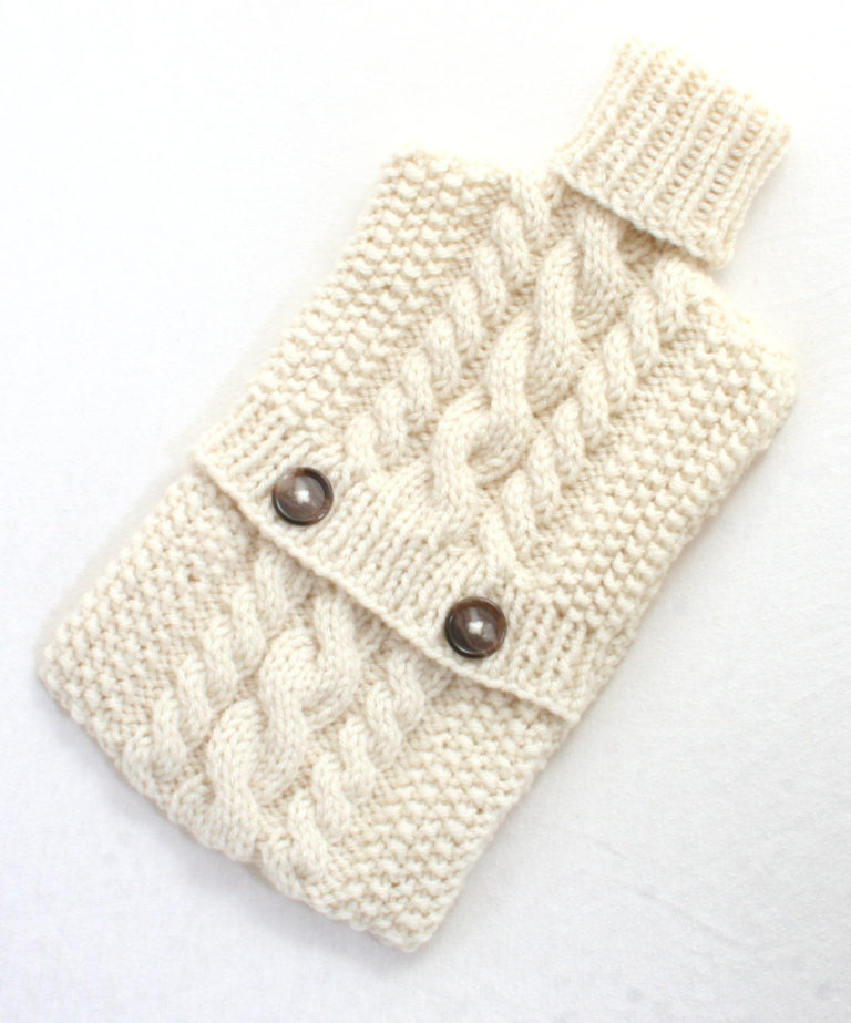 Free Knitting Pattern for Cable Hot Water Bottle Cozy