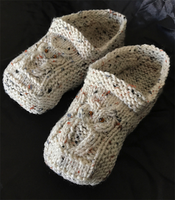 Free Knitting Pattern for Cable Owl Slippers