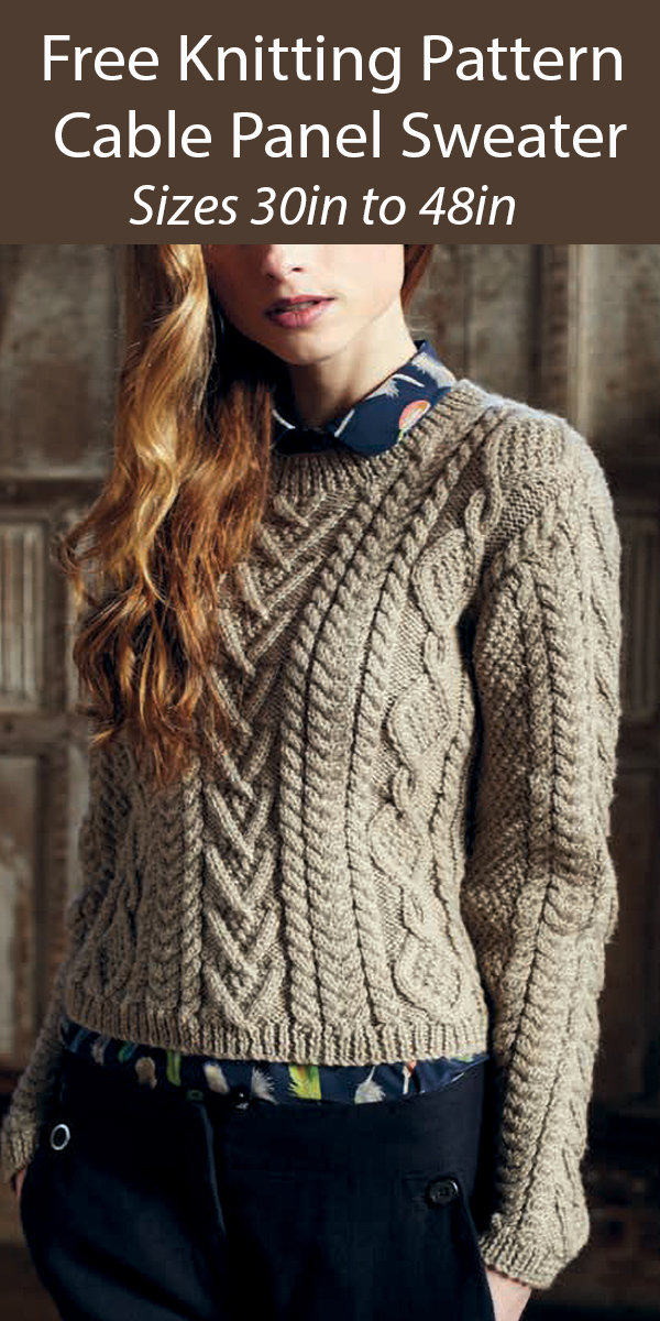 Free Knitting Pattern for Cable Panelled Sweater