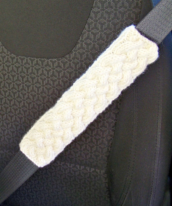 Knitting Pattern for Cable Seat Harness Cover