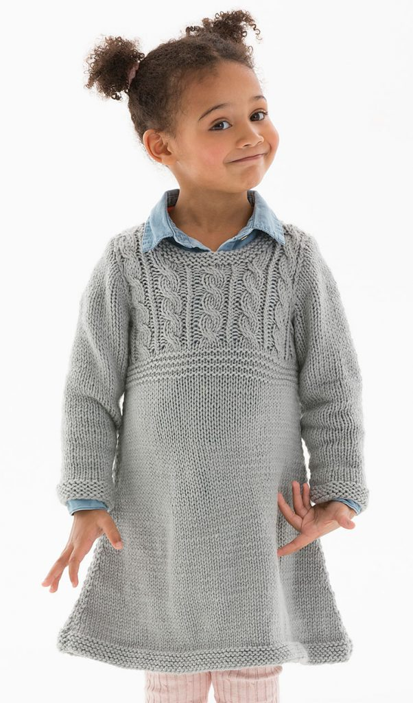 Free Knitting Pattern Child's Cable Sweater Dress