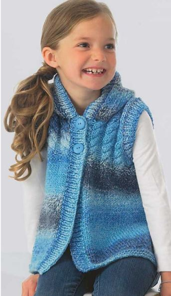 Knitting pattern for Hooded Vest for kids with cable yoke