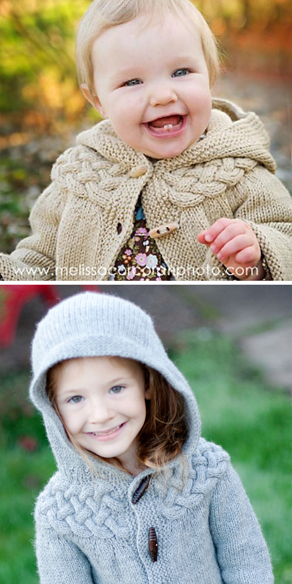 Knitting Pattern for Cable Yoke Jacket - Baby or Child