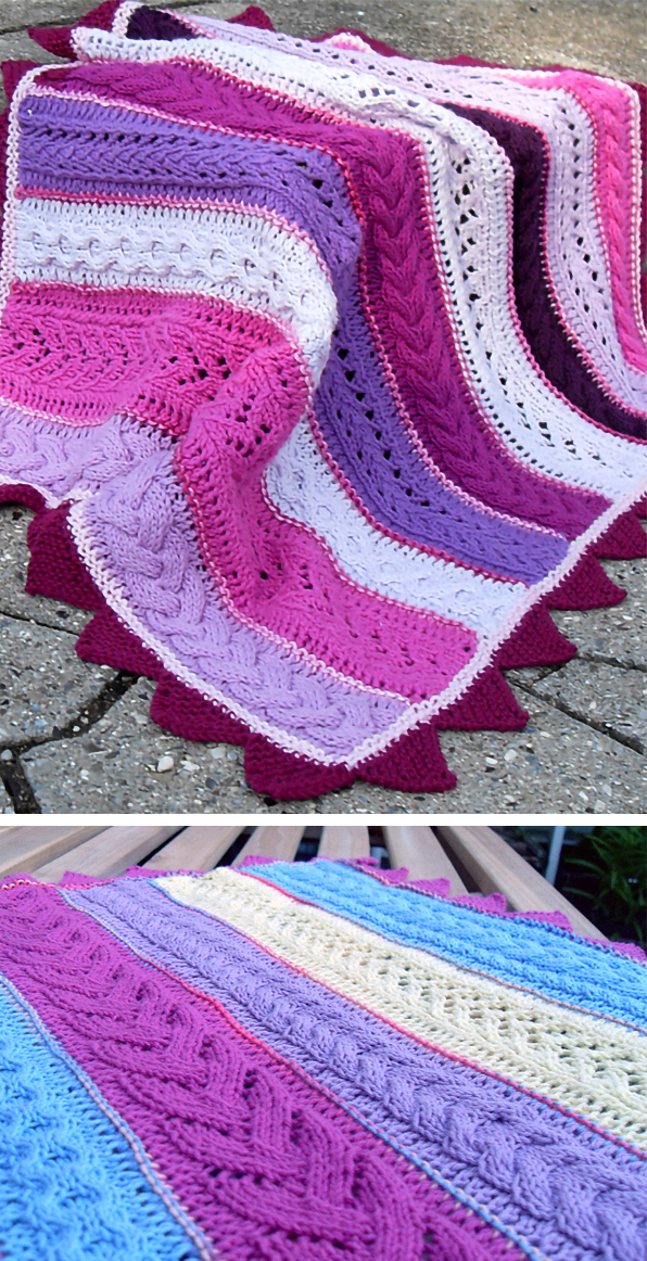 Free Knitting Pattern for Cabled Baby Blanket