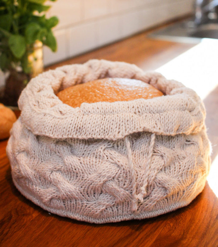 Knitting Pattern for Cabled Braid Bread Warmer