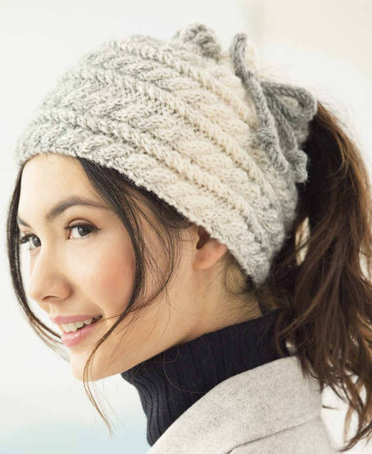 Free Knitting Pattern for Cabled Bun Hat