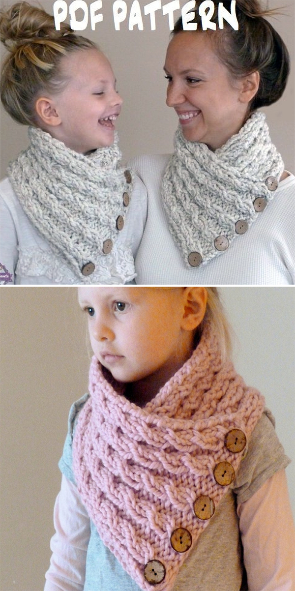Knitting Pattern for Cabled Button Neckwarmer