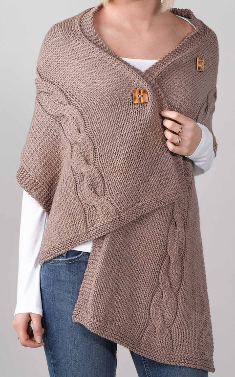Free Knitting Pattern for Easy Cabled Button Wrap