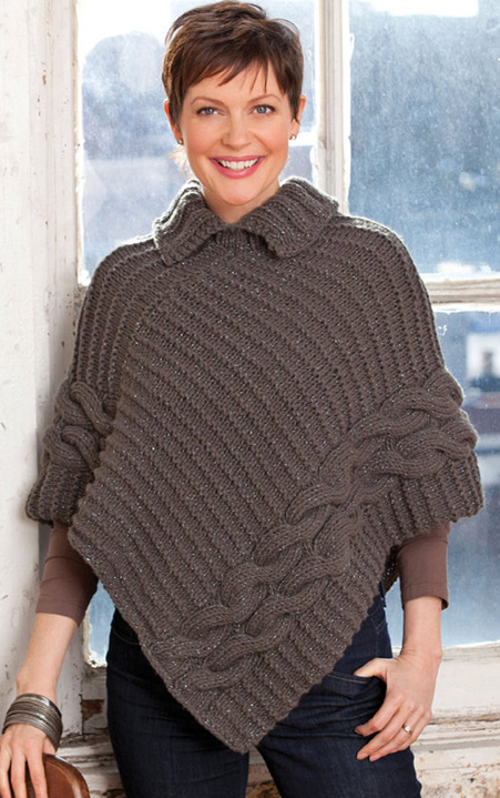 Free Knitting Pattern for Cabled and Collared Poncho
