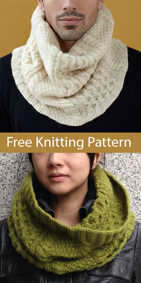 Free Knitting Pattern for Cabled Cowl