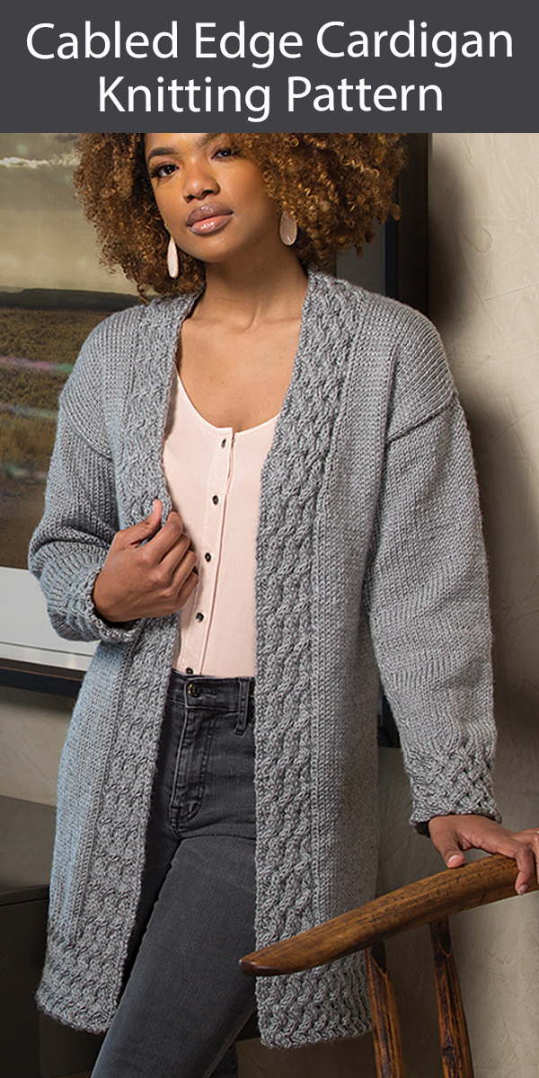 Cardigan Knitting Pattern Cabled Edge Cardigan