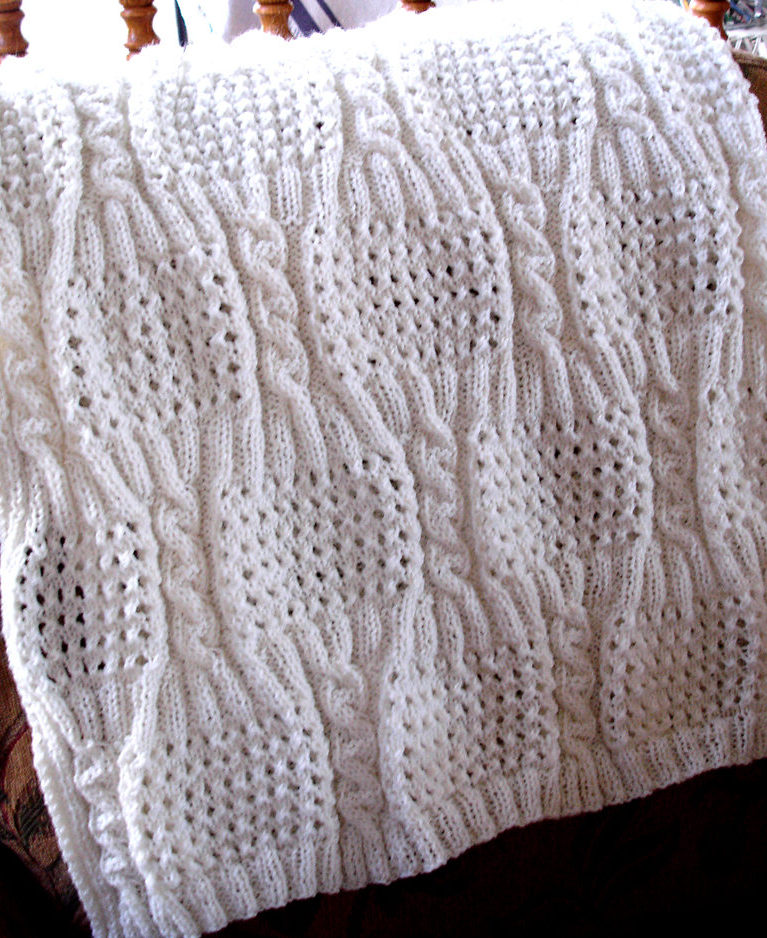 Free Knitting Pattern for Cabled Eyelet Baby Blanket