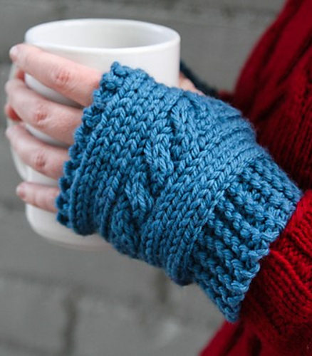 Free Knitting Pattern for Easy Cabled Hand Warmers
