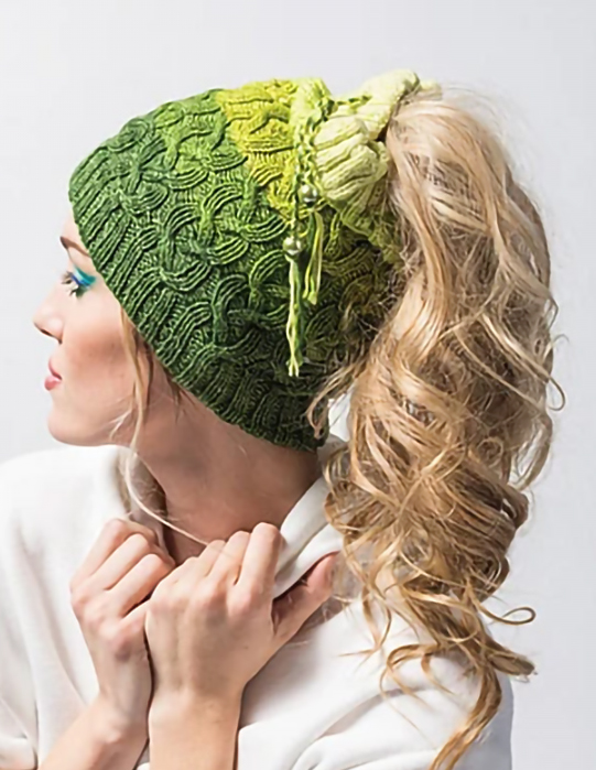 Knitting Pattern for Cabled Messy Bun Hat