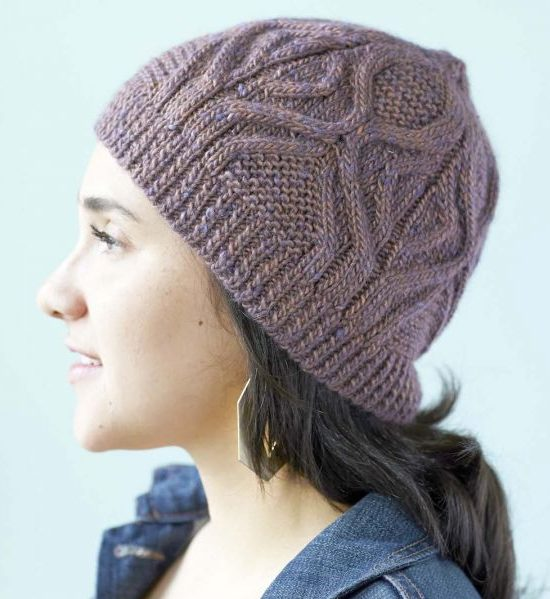 Free Knitting Pattern for Cabled Hat Knit Flat or in the Round