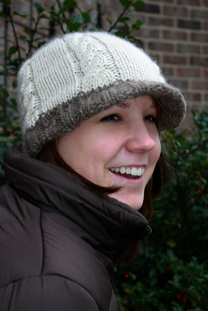 Free knitting pattern for Cabled Hat With Brim