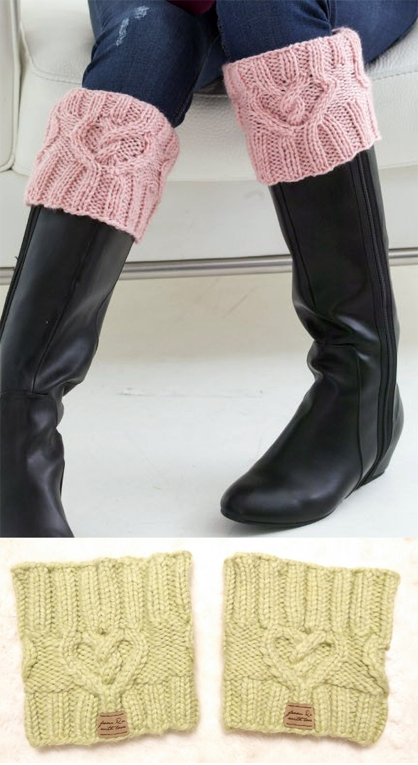 356a6731b34 Free Knitting Pattern for Cabled Heart Boot Cuff