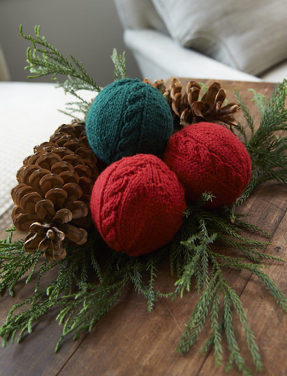 Free Knitting Pattern for Cabled Holiday Balls