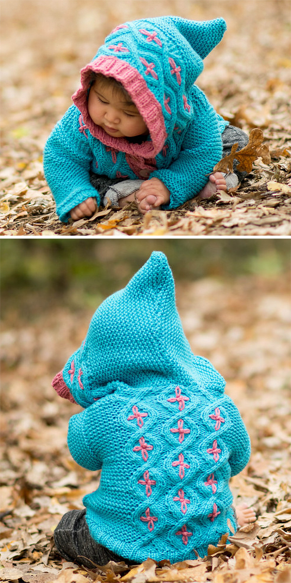 Free Knitting Pattern for Cabled Cardigan With Hood