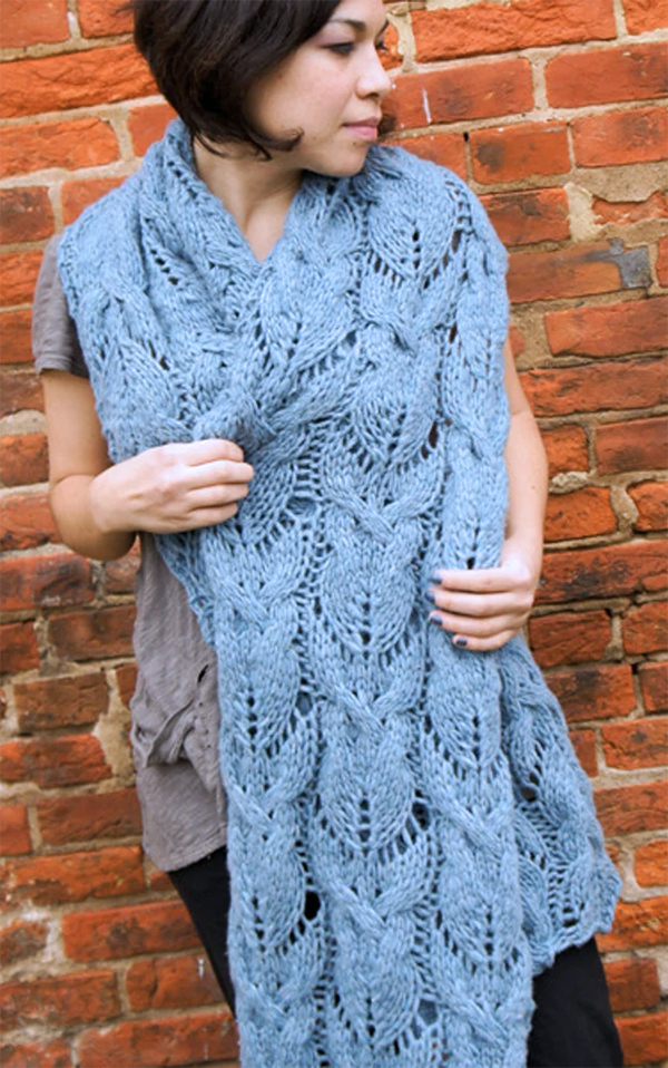 Free Knitting Pattern for Cabled and Lace Super Scarf