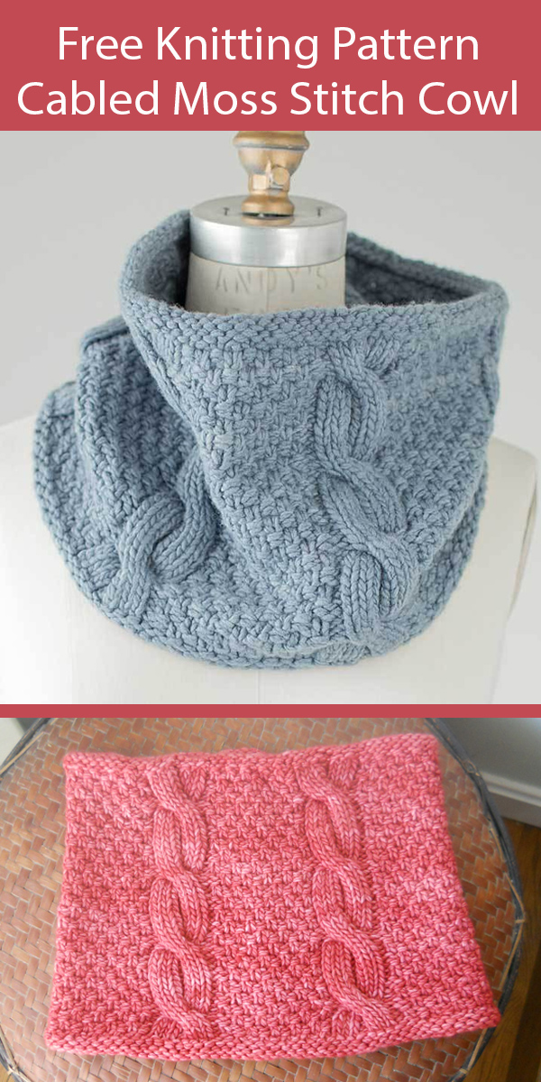 Free Cowl Knitting Pattern Cabled Moss Stitch Cowl