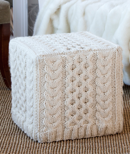 Free knitting pattern for Cabled Ottoman Cover