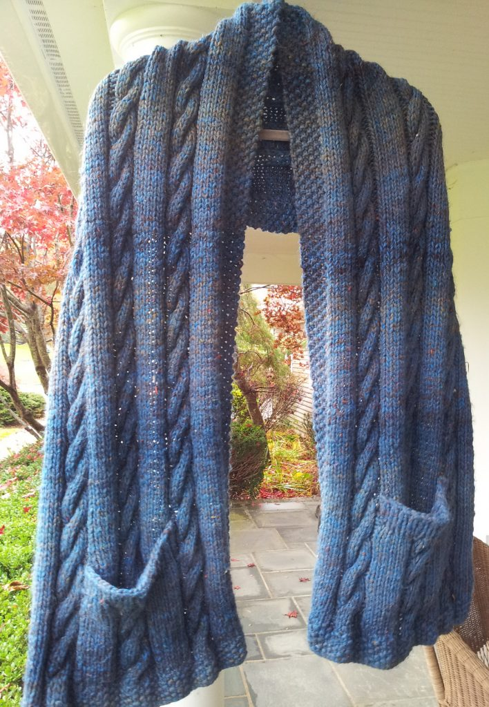 Free Knitting Pattern Cabled Pocket Shawl in super bulky yarn