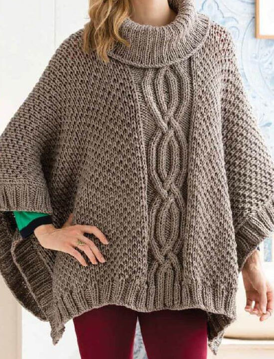 Free Knitting Pattern for Cabled Poncho Knitting Pattern