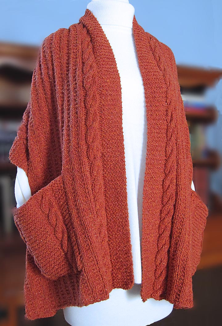 Knitting Pattern for Cabled Reader's Wrap