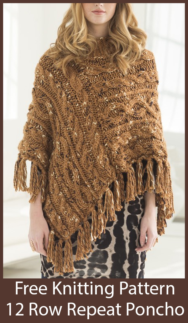 Free Knitting Pattern for 12 Row Repeat Cabled Rectangles Poncho