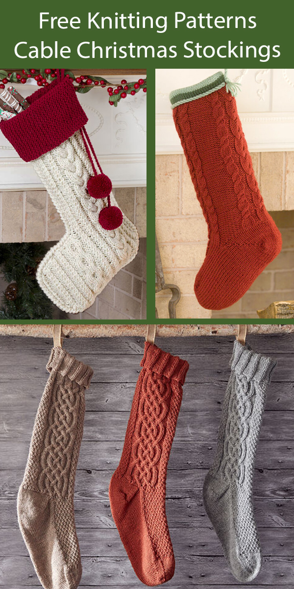 Free Christmas Stocking Knitting Patterns Cable Christmas Stockings