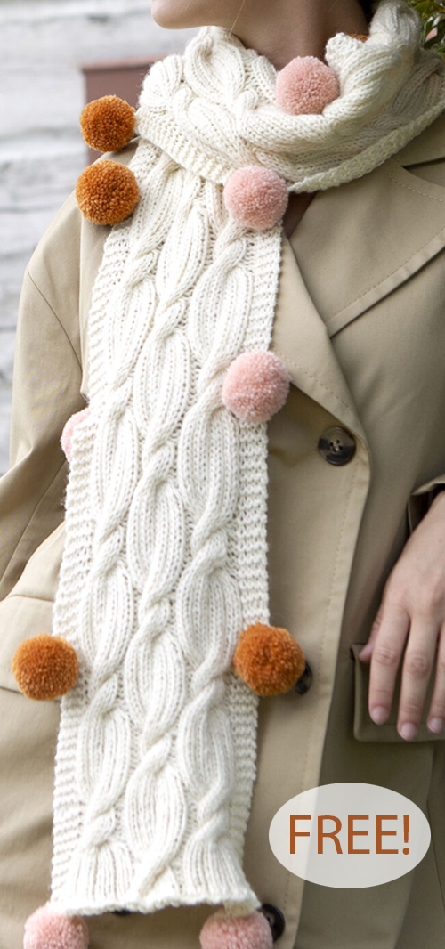 Free Knitting Pattern for Cables and Poms Scarf