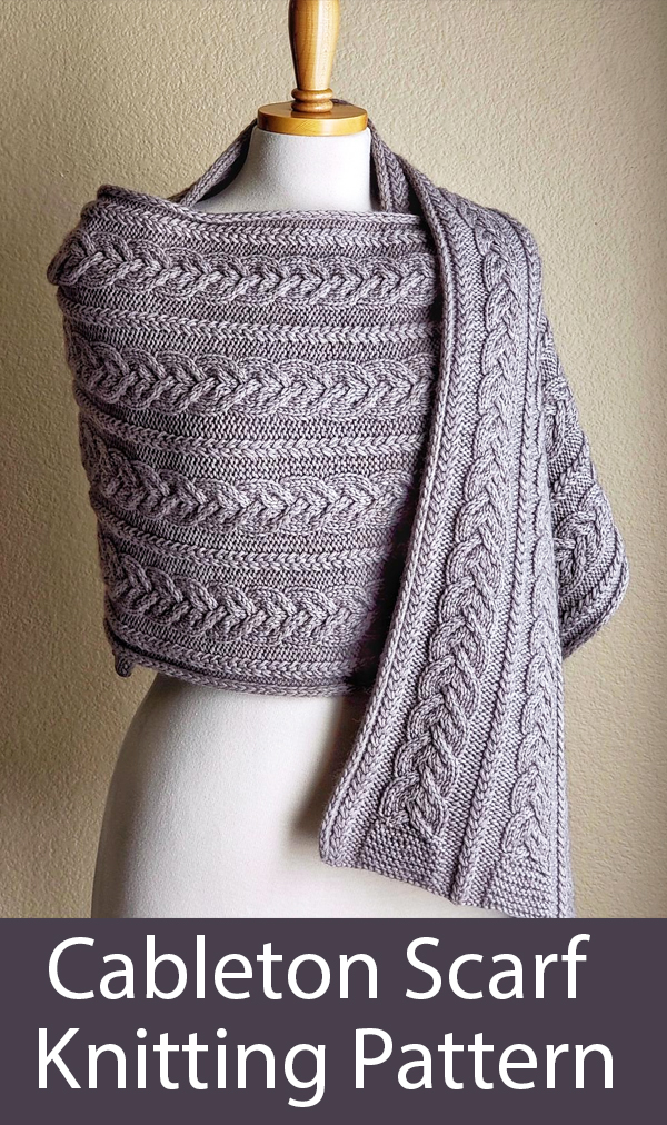 Knitting Pattern for Cableton Scarf