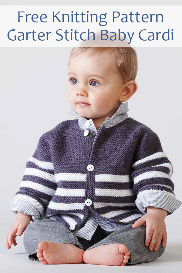 Free Knitting Pattern for Striped Garter Stitch Baby Jacket