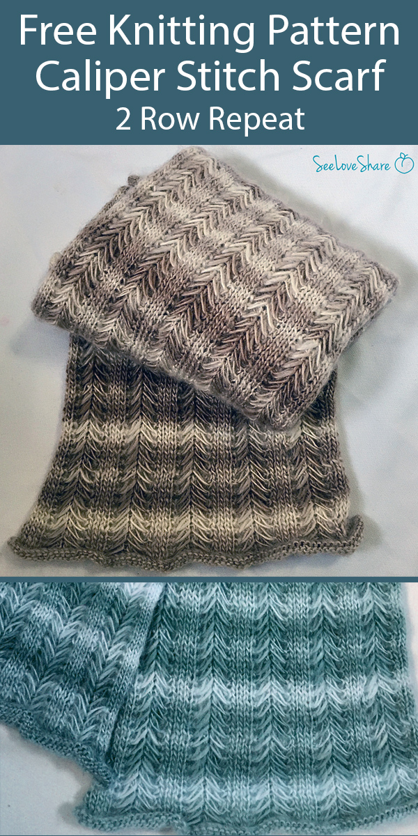 Knitting Pattern for 2 Row Repeat Caliper Stitch Scarf