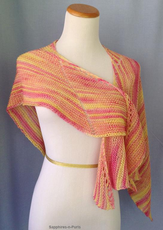 Free knitting pattern for Calypso Shawl easy shawl great for multi-color yarn