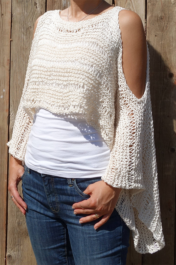 Knitting Pattern for Drop Stitch Cold Shoulder Top