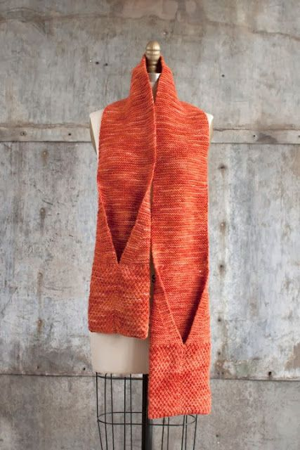 Free knitting pattern for Camote Pocket Scarf and more scarf knitting patterns