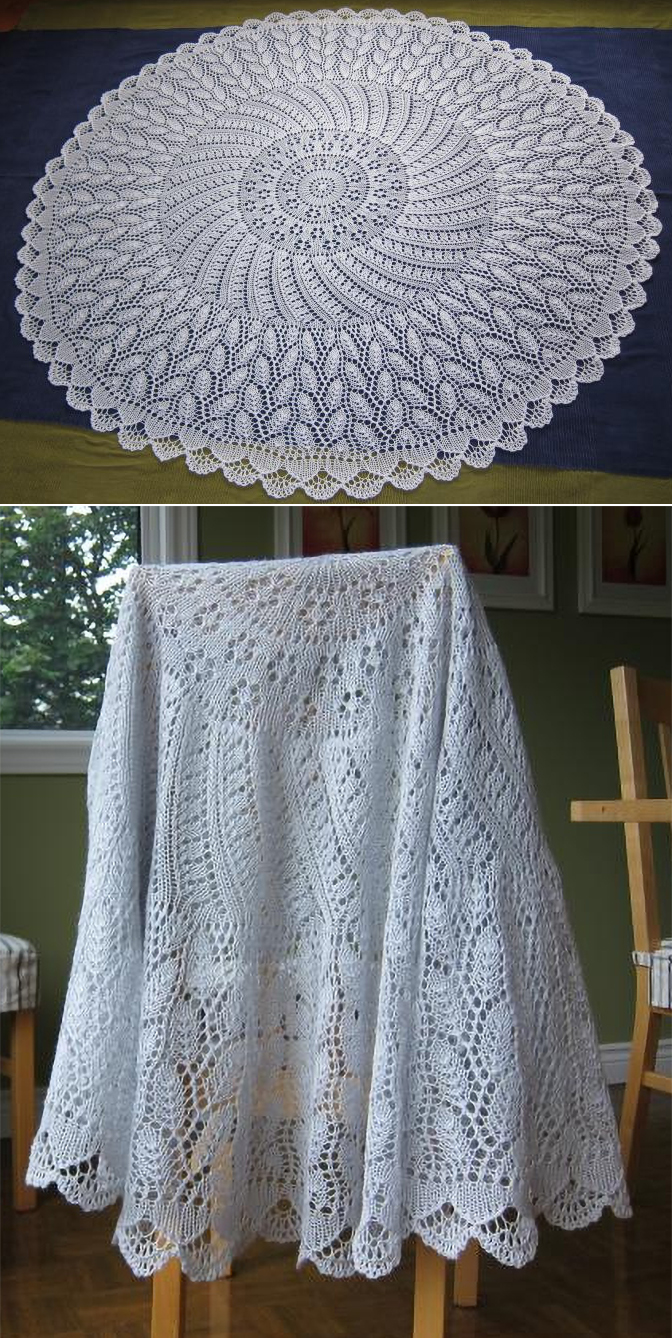 Free Knitting Pattern for EZ 100th Anniversary PI Shawl: Camping