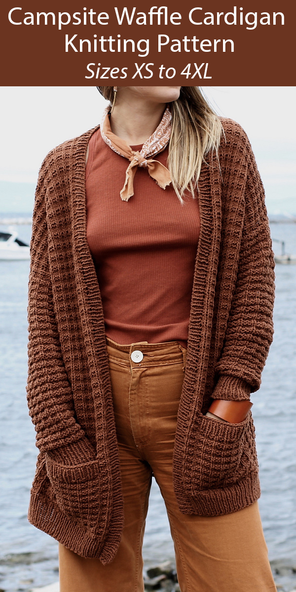 Knitting Pattern for Campsite Waffle Cardigan