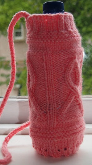Free Knitting Pattern for Cancer Support Ribbon Bottle Holder