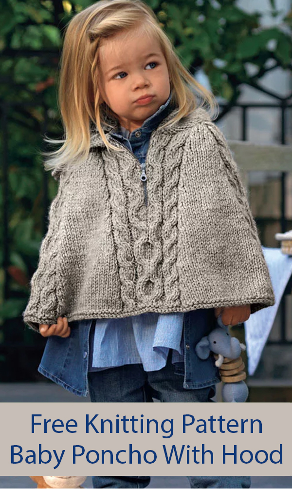 Free Knitting Pattern for Hooded Baby Cape