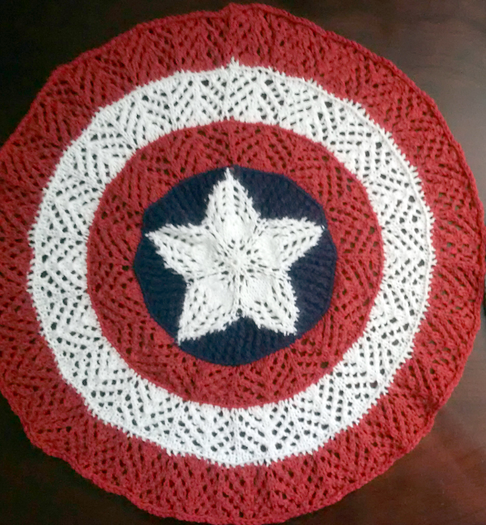Free Knitting Pattern for Captain America Doily