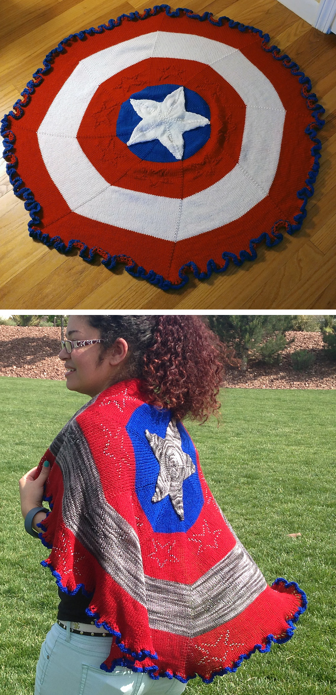 Free Knitting Pattern for Captain American Shawl or Blanket