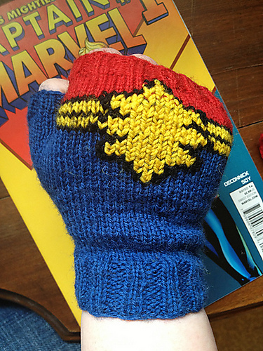 Free knitting pattern for Captain Marvel Fingerless Gloves