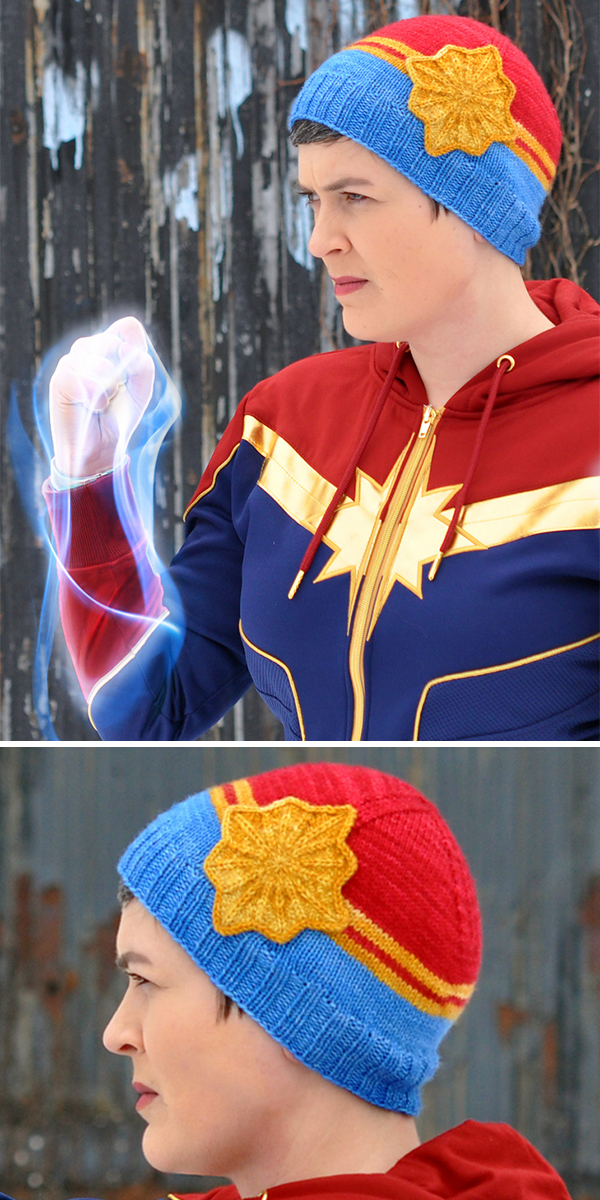 Free knitting pattern for Captain Marvel Inspired Hat