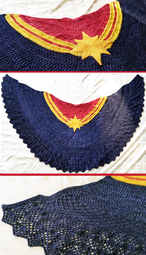 Free knitting pattern for Captain Marvel Shawl