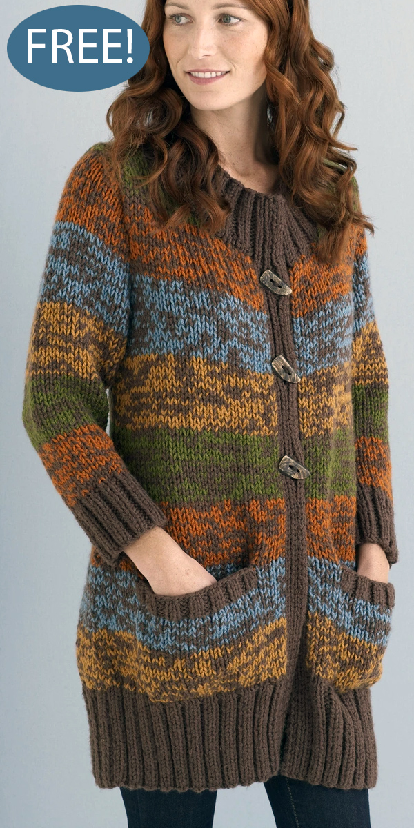 Car Coat Free Knitting Pattern and more free coat and jacket knitting patterns at http://intheloopknitting.com/jacket-and-coat-knitting-patterns/