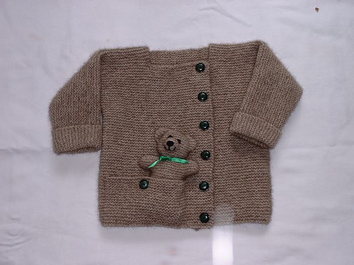 Child's Cardigan with Pocket Teddy Bear Knitting Pattern | Favorite Bear Knitting Patterns including Teddy Bears, Paddington Bear, Koala Bear - many free patterns